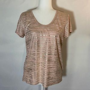 Gap Linen Blend Pink Metallic Tee Medium